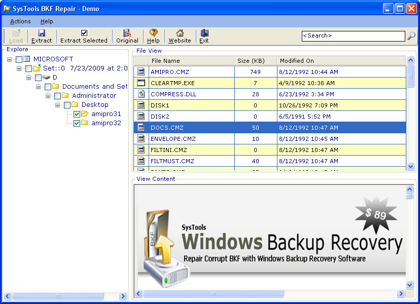 Windows Data Recovery Tool for Backup Screenshot